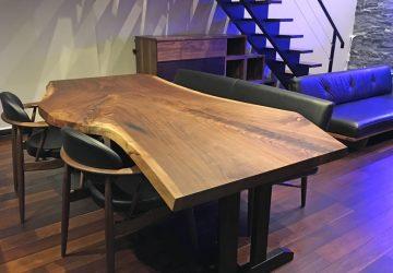 【納品情報】 ウォールナット一枚板テーブルセットをお届け!